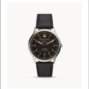 Fossil FORRESTER THREE-HAND BLACK LEATHER WATCH